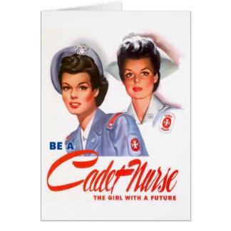 Enfermera retra del cadete del kitsch WW2 del vint Tarjeta De Felicitación