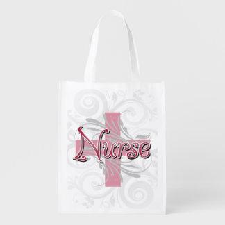 Enfermera rosada de la cruz/del remolino bolsas reutilizables