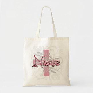 Enfermera rosada de la cruz/del remolino bolsas de mano