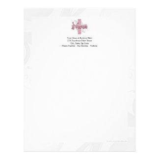 Enfermera rosada de la cruz/del remolino membrete a diseño