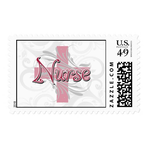 Enfermera rosada de la cruz/del remolino sello postal