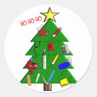 Enfermera/tarjetas de Navidad y regalos médicos Pegatina Redonda