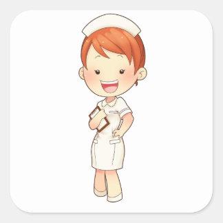 Enfermera tradicional Redheaded que sostiene el Pegatina Cuadrada