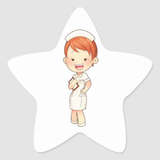 Enfermera tradicional Redheaded que sostiene el Pegatina En Forma De Estrella