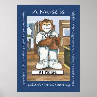 Enfermera, varón en oficina póster