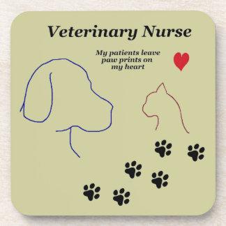 Enfermera veterinaria - impresiones de la pata en posavasos