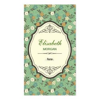 Enfermera - vintage elegante floral plantilla de tarjeta personal