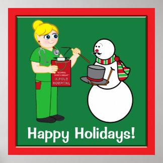 Enfermera y muñeco de nieve de Polo Norte con el b Poster