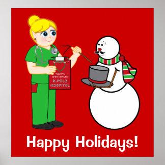 Enfermera y muñeco de nieve de Polo Norte con el b Posters