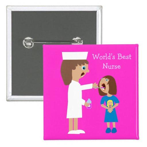 Enfermera y niño lindos del dibujo animado de la pin cuadrado