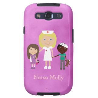 Enfermera y niños pediátricos lindos púrpuras galaxy s3 protector