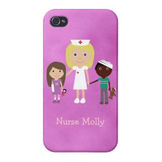 Enfermera y niños pediátricos lindos púrpuras iPhone 4 fundas