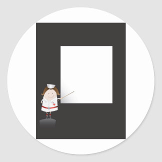 Enfermera y whiteboard pegatina