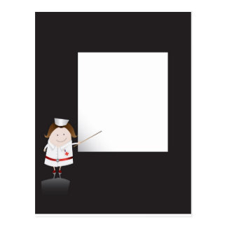 Enfermera y whiteboard postal