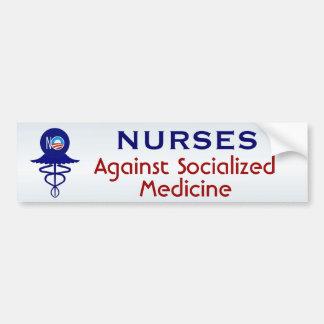 Enfermeras contra medicina socializada etiqueta de parachoque