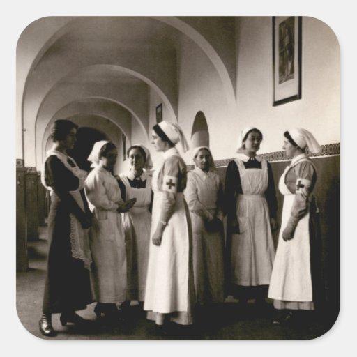 Enfermeras del alemán de WWI Calcomanías Cuadradass