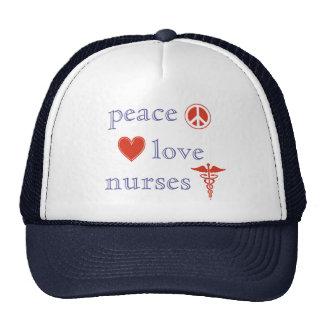 Enfermeras del amor de la paz gorro de camionero