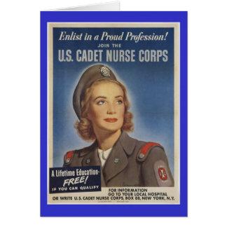 Enfermeras del cadete del vintage tarjeta de felicitación