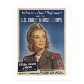 Enfermeras del cadete del vintage postal