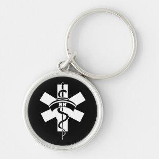 Enfermeras del RN Llavero Redondo Plateado