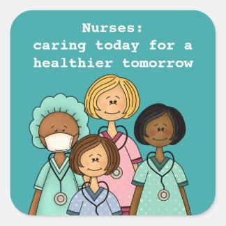 Enfermeras día, pegatinas del regalo de la semana calcomanía cuadrada personalizada