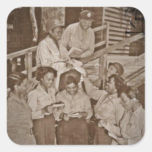 Enfermeras en el correo que consigue pacífico del colcomanias cuadradass