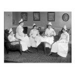 Enfermeras en el té, 1900s tempranos tarjetas postales