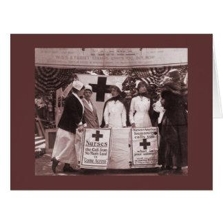 Enfermeras en la estación de reclutamiento tarjeta de felicitación grande