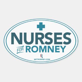 Enfermeras para Mitt Romney 2012 (pegatina oval) Pegatina Ovalada