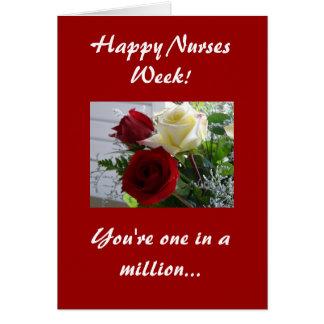 Enfermeras Semana-Rojas y rosas amarillos Tarjeta De Felicitación