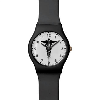 Enfermeras y doctores médicos del símbolo reloj