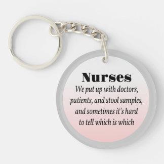Enfermeras y muestras de taburete llavero redondo acrílico a doble cara