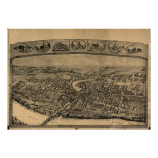 Enfield Connecticut 1908 Antique Panoramic Map Poster