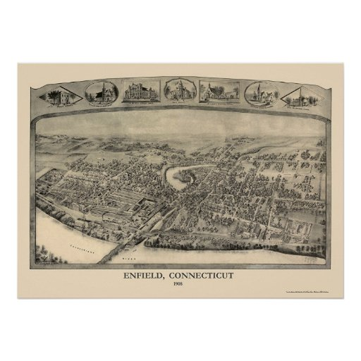 Enfield, CT Panoramic Map - 1908 Poster