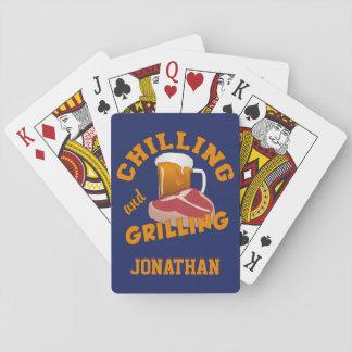 Enfriando y asando a la parrilla naipes conocidos barajas de cartas