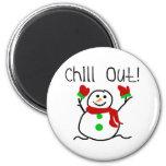 Enfríe hacia fuera el muñeco de nieve imán redondo 5 cm