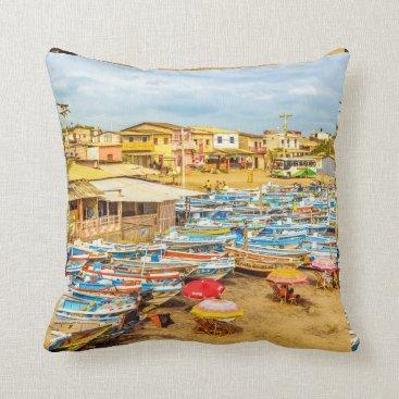 Beach Themed Engabao Beach Guayas Province Ecuador Throw Pillow