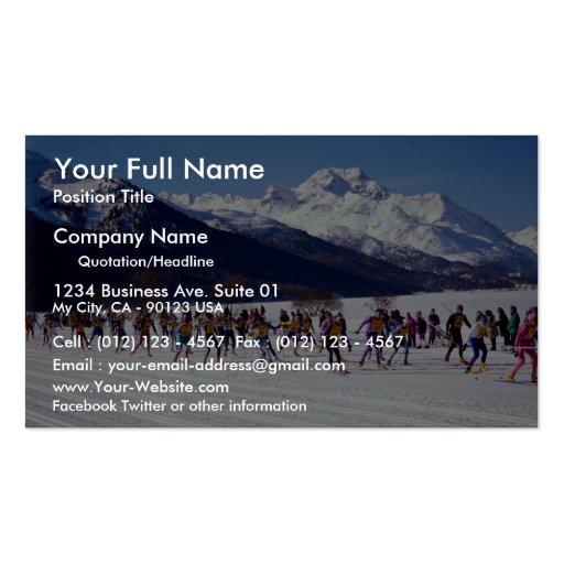Engadin ski marathon, Silvaplana, Switzerland Wint Double-Sided Standard Business Cards (Pack Of 100)