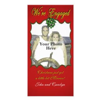 Engaged at Christmas Custom Photo Card