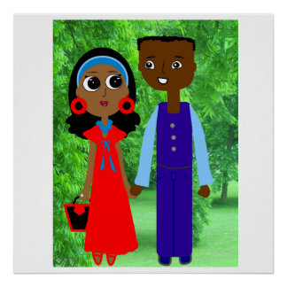 Engaged Couple Cartoon Poster. Poster