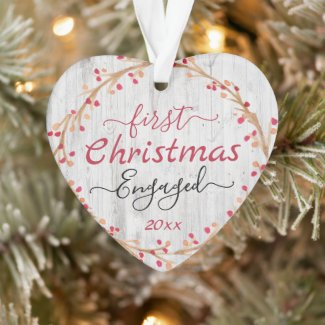 Engaged Couple First Christmas Rustic Wood Ornament