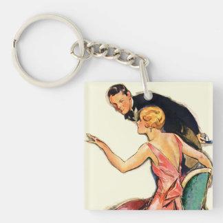 Engaged Couple Double-Sided Square Acrylic Keychain