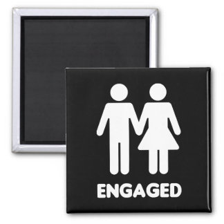 Engaged Couple (White Silhouette) 2 Inch Square Magnet