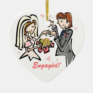 Engaged Customized Wedding Keepsake Double-Sided Heart Ceramic Christmas Ornament