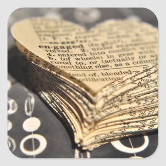 Engaged Dictionary Heart Square Sticker