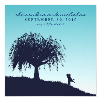Engaged Embrace Save the Date Announcement: aqua Card