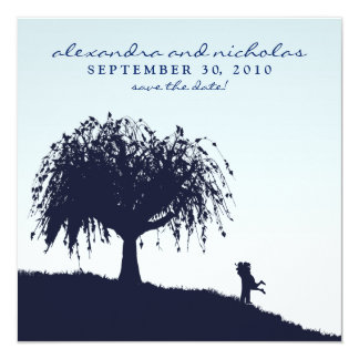 Engaged Embrace Save the Date Announcement: blue Card