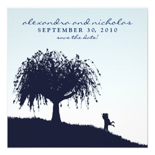 Engaged Embrace Save the Date Announcement: blue