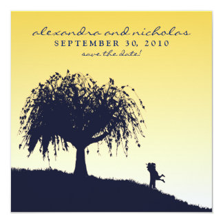 Engaged Embrace Save the Date Announcement: lemon Card