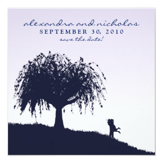 Engaged Embrace Save the Date Announcement: lilac Invitation